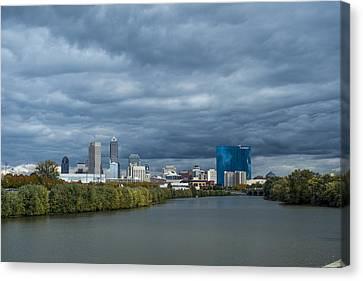 Indianapolis Indiana Skyline Fj Storm Canvas Print by David Haskett