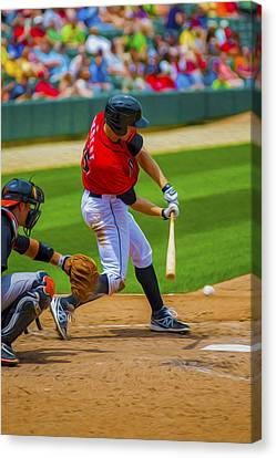 Indianapolis Indians Jared Goedert Digital Oil Painting Canvas Print by David Haskett