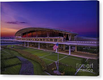 Indianapolis International Airport Sunset Alpha Canvas Print by David Haskett