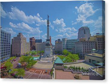 Indiana Landscapes Canvas Print - Indianapolis Monument Circle Oil by David Haskett