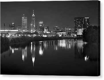 Indianapolis Skyline At Night Indy Downtown Black And White Bw Panorama Canvas Print by Jon Holiday