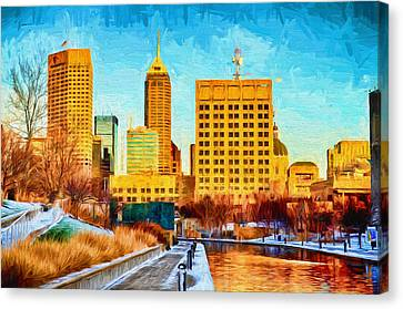 Indianapolis Skyline Canal View Digital Painting Canvas Print by David Haskett