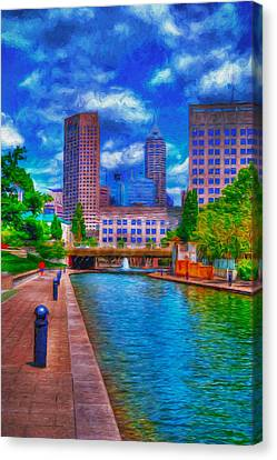 Indianapolis Skyline Canal View Digitally Painted Blue Canvas Print by David Haskett