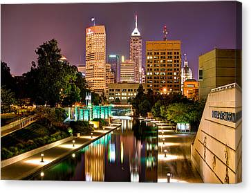 Indianapolis Skyline - Canal Walk Bridge View Canvas Print by Gregory Ballos