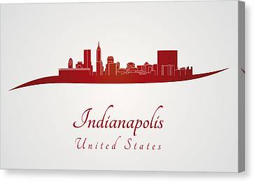 Indiana Landscapes Canvas Print - Indianapolis Skyline In Red by Pablo Romero