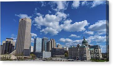 Indianapolis Skyline Low Canvas Print by David Haskett