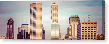 Indianapolis Skyline Retro Panoramic Picture Canvas Print