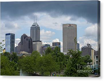 Indianapolis Skyline Storm 3 Canvas Print by David Haskett