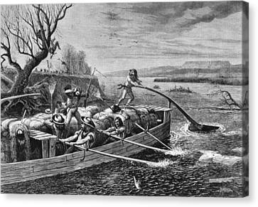 Indians Attacking Fur Traders Canvas Print