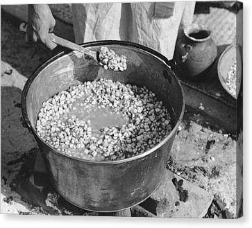 Indians Cooking Corn Canvas Print by Underwood Archives Onia