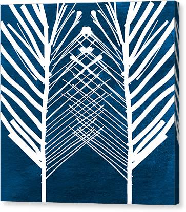 Leaves Canvas Print - Indigo And White Leaves- Abstract Art by Linda Woods