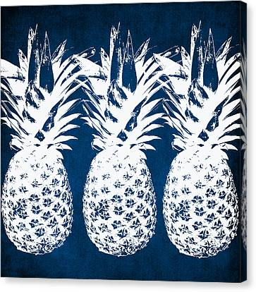 Living-room Canvas Print - Indigo And White Pineapples by Linda Woods