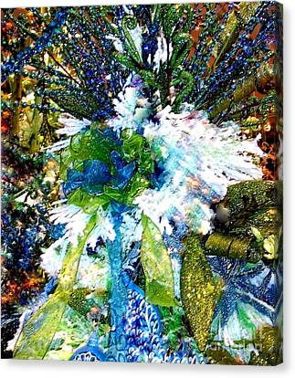 Decorated For Christmas Canvas Print - Indigo Blue Green Festive Holiday by Janine Riley