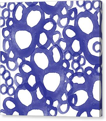 Indigo Bubbles- Contemporary Absrtract Watercolor Canvas Print by Linda Woods