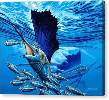 Indigo Palms Canvas Print by Dennis Friel