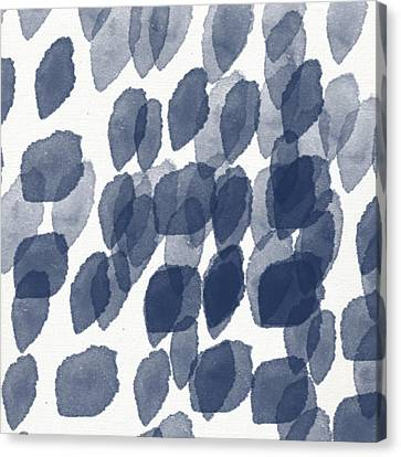 Drop Canvas Print - Indigo Rain- Abstract Blue And White Painting by Linda Woods