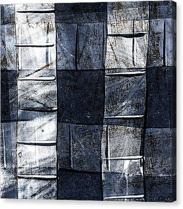 Pattern Canvas Print - Indigo Squares 2 Of 5 by Carol Leigh