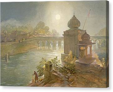 Indore, From India Ancient And Modern Canvas Print by William 'Crimea' Simpson