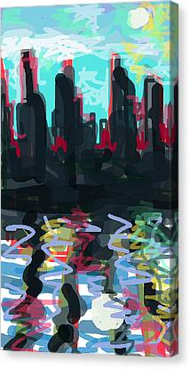Industrial City On A River  Canvas Print by Paul Sutcliffe