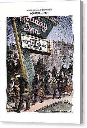 Woody Allen Canvas Print - Industrial Crisis by Edward Sorel