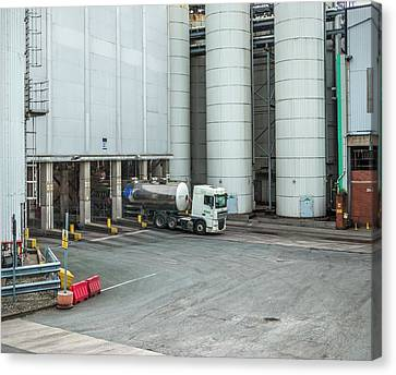 Factory Work Canvas Print - Industrial Loading Silos by Robert Brook