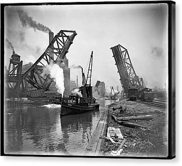 Industrial Maritime Steam-age Chicago  C. 1890 Canvas Print by Daniel Hagerman