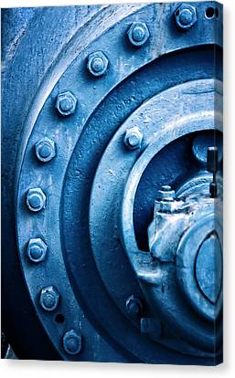 Industrial Piece In Blue With Screws Canvas Print by Joel Vieira