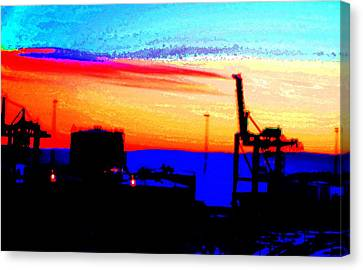 admire an Industrial sunset, because culture is also nature  Canvas Print by Hilde Widerberg