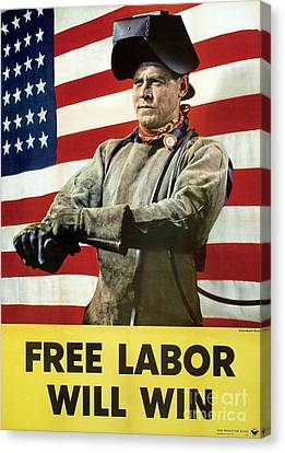 Industry Labour Poster, World War II Canvas Print