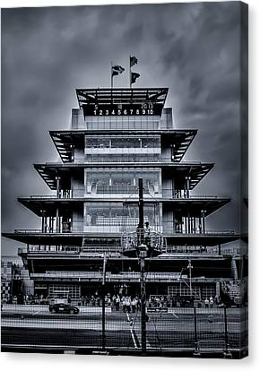 Indy 500 Pagoda - Black And White Canvas Print by Ron Pate