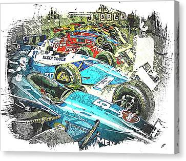 Indy Race Car Line Up Canvas Print by Spencer McKain