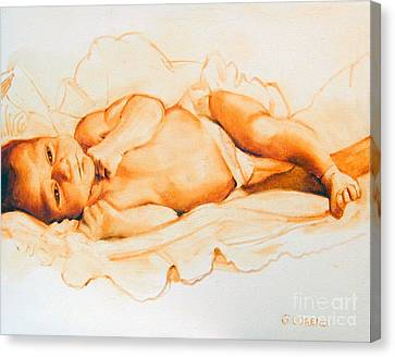 Canvas Print featuring the painting Infant Awake by Greta Corens
