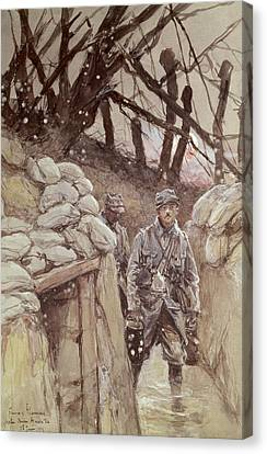 Infantrymen In A Trench, Notre-dame De Lorette, 1915 Wc On Paper Canvas Print by Francois Flameng