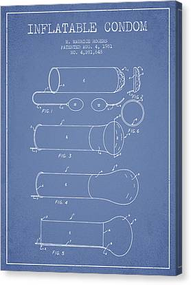 Inflatable Condom Patent From 1981 - Light Blue Canvas Print