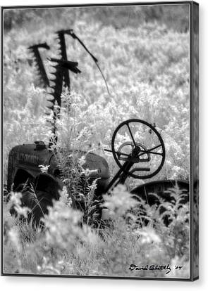 Infrared Bw Old Farm Tractor 8  Canvas Print by David Blatchley