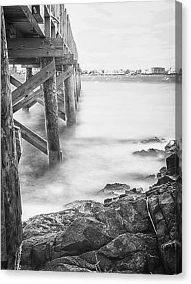 Canvas Print featuring the photograph Infrared View Of Stormy Waves At Stramsky Wharf by Jeff Folger