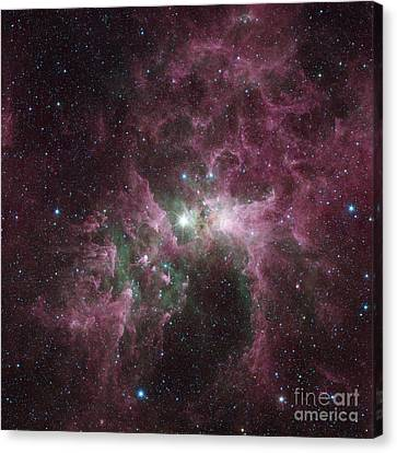 Infrared View Of The Carina Nebula Canvas Print by Stocktrek Images