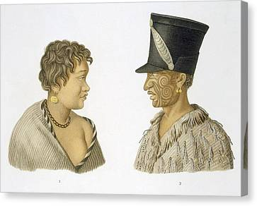 Inhabitants Of New Zealand, 1826 Canvas Print