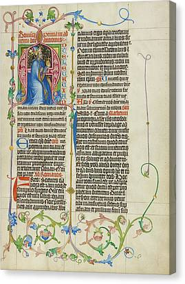 1420 Canvas Print - Initial A King David Enthroned Master Michael, Austrian by Litz Collection