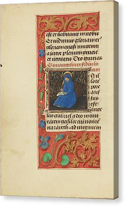 Initial I Saint Luke Master Of The Dresden Prayer Book Or Canvas Print by Litz Collection