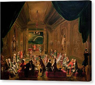 Centre Canvas Print - Initiation Ceremony In A Viennese Masonic Lodge During The Reign Of Joseph II, With Mozart Seated by Ignaz Unterberger