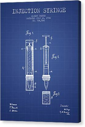 Injection Syringe Patent From 1904 - Blueprint Canvas Print by Aged Pixel