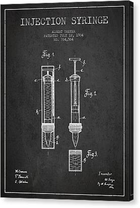 Injection Syringe Patent From 1904 - Dark Canvas Print by Aged Pixel