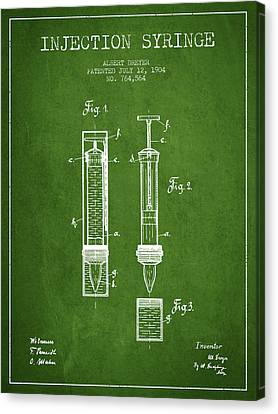 Injection Syringe Patent From 1904 - Green Canvas Print by Aged Pixel