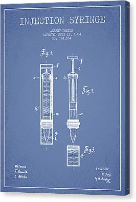 Injection Syringe Patent From 1904 - Light Blue Canvas Print by Aged Pixel