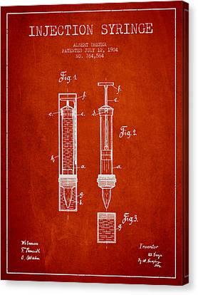 Injection Syringe Patent From 1904 - Red Canvas Print by Aged Pixel
