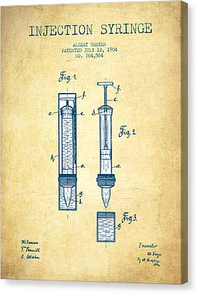 Injection Syringe Patent From 1904 - Vintage Paper Canvas Print by Aged Pixel