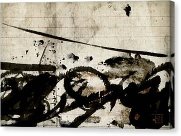 Ink And Paint On Vintage Ledger Paper Canvas Print by Carol Leigh