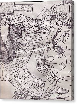 Ink Art To Color 3 Canvas Print by Lois Picasso
