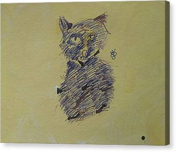 Canvas Print featuring the drawing Ink Cat by AJ Brown